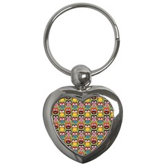 Eye Owl Colorful Cute Animals Bird Copy Key Chains (heart)  by AnjaniArt