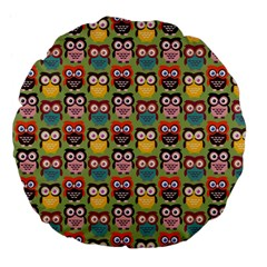 Eye Owl Colorful Cute Animals Bird Copy Large 18  Premium Flano Round Cushions by AnjaniArt