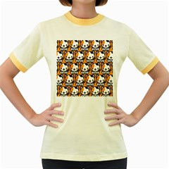Face Cat Yellow Cute Women s Fitted Ringer T Shirts by AnjaniArt