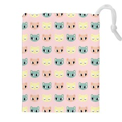 Face Cute Cat Drawstring Pouches (XXL) by AnjaniArt