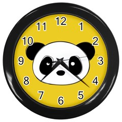 Face Panda Cute Wall Clocks (black) by AnjaniArt