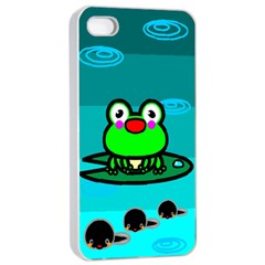Frog Tadpole Green Apple Iphone 4/4s Seamless Case (white) by AnjaniArt