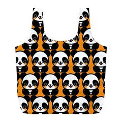 Halloween Night Cute Panda Orange Full Print Recycle Bags (l)  by AnjaniArt