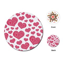 Heart Love Pink Back Playing Cards (round)  by AnjaniArt