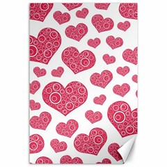 Heart Love Pink Back Canvas 24  X 36  by AnjaniArt