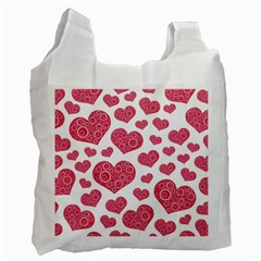 Heart Love Pink Back Recycle Bag (two Side)  by AnjaniArt