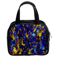 Network Blue Color Abstraction Classic Handbags (2 Sides) by AnjaniArt