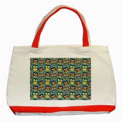 Owl Eye Blue Bird Copy Classic Tote Bag (red) by AnjaniArt