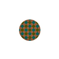 Plaid Box Brown Blue 1  Mini Buttons by AnjaniArt