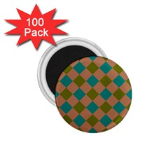 Plaid Box Brown Blue 1 75  Magnets (100 Pack)  by AnjaniArt