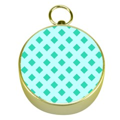 Plaid Blue Box Gold Compasses by AnjaniArt