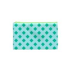 Plaid Blue Box Cosmetic Bag (xs) by AnjaniArt