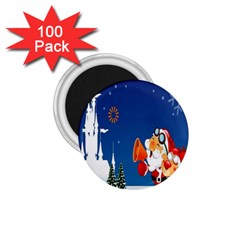 Santa Claus Reindeer Horn Castle Trees Christmas Holiday 1 75  Magnets (100 Pack)  by AnjaniArt
