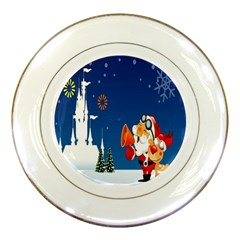 Santa Claus Reindeer Horn Castle Trees Christmas Holiday Porcelain Plates by AnjaniArt