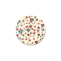 Valentine Heart Pink Love Golf Ball Marker by AnjaniArt