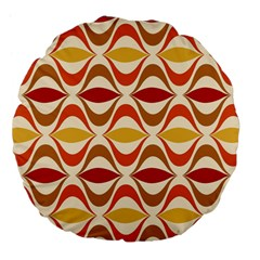 Wave Orange Red Yellow Rainbow Large 18  Premium Flano Round Cushions by AnjaniArt