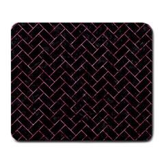Brick2 Black Marble & Pink Marble Large Mousepad by trendistuff