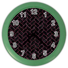 Brick2 Black Marble & Pink Marble Color Wall Clock by trendistuff