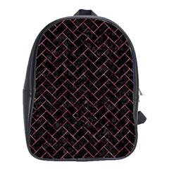Brick2 Black Marble & Pink Marble School Bag (large) by trendistuff