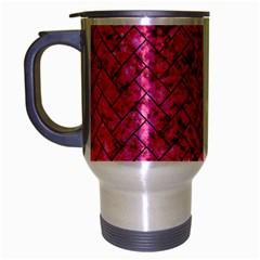 Brick2 Black Marble & Pink Marble (r) Travel Mug (silver Gray) by trendistuff