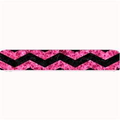 Chevron3 Black Marble & Pink Marble Small Bar Mat by trendistuff