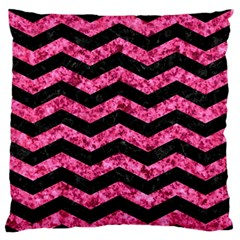 Chevron3 Black Marble & Pink Marble Large Flano Cushion Case (two Sides) by trendistuff
