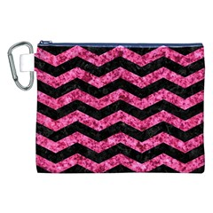 Chevron3 Black Marble & Pink Marble Canvas Cosmetic Bag (xxl) by trendistuff