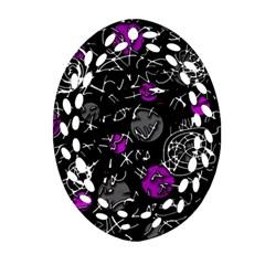 Purple Mind Oval Filigree Ornament (2 Side)  by Valentinaart
