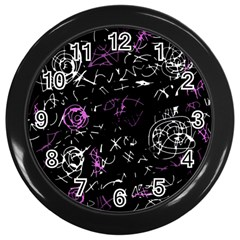 Abstract Mind   Magenta Wall Clocks (black) by Valentinaart