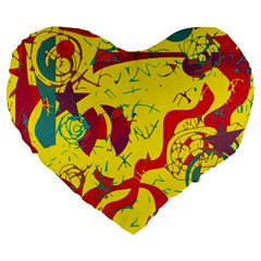 Yellow Confusion Large 19  Premium Flano Heart Shape Cushions by Valentinaart