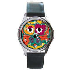 Colorful Cat 2  Round Metal Watch by Valentinaart