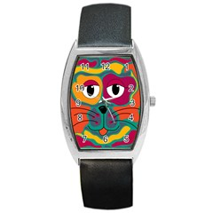 Colorful Cat 2  Barrel Style Metal Watch by Valentinaart