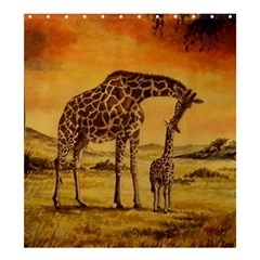 Giraffe Mother & Baby Shower Curtain 66  X 72  (large)  by ArtByThree