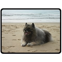 Keeshond On Beach  Double Sided Fleece Blanket (Large)  by TailWags
