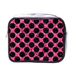 Circles2 Black Marble & Pink Marble (r) Mini Toiletries Bag (one Side) by trendistuff