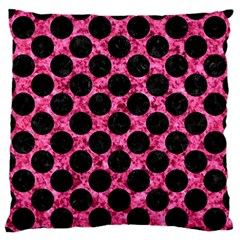 Circles2 Black Marble & Pink Marble (r) Large Flano Cushion Case (two Sides) by trendistuff