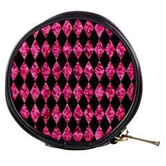 Diamond1 Black Marble & Pink Marble Mini Makeup Bag by trendistuff