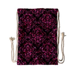 Damask1 Black Marble & Pink Marble Drawstring Bag (small) by trendistuff