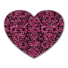Damask2 Black Marble & Pink Marble Heart Mousepad by trendistuff