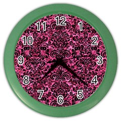 Damask2 Black Marble & Pink Marble (r) Color Wall Clock by trendistuff