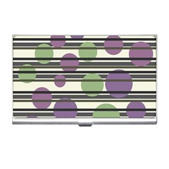 Purple And Green Elegant Pattern Business Card Holders by Valentinaart