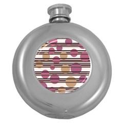 Simple decorative pattern Round Hip Flask (5 oz) by Valentinaart
