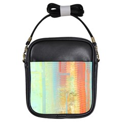 Unique Abstract In Green, Blue, Orange, Gold Girls Sling Bags by theunrulyartist