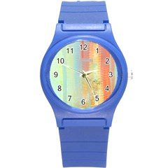Unique Abstract In Green, Blue, Orange, Gold Round Plastic Sport Watch (s) by theunrulyartist