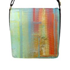Unique Abstract In Green, Blue, Orange, Gold Flap Messenger Bag (l)  by theunrulyartist