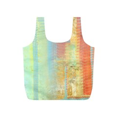 Unique Abstract In Green, Blue, Orange, Gold Full Print Recycle Bags (s)  by theunrulyartist