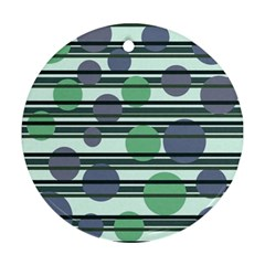 Green Simple Pattern Round Ornament (two Sides)  by Valentinaart