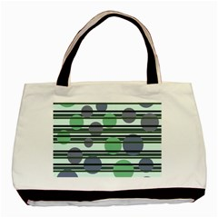 Green Simple Pattern Basic Tote Bag (two Sides) by Valentinaart