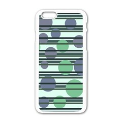 Green Simple Pattern Apple Iphone 6/6s White Enamel Case by Valentinaart