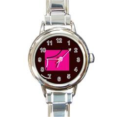 Pink square  Round Italian Charm Watch